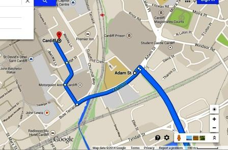 driving instructions to Cardiff city centre and queen street from Cardiff bay and from Adam Street Radisson hotel