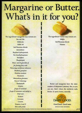 nutrition in butter - compare butter to margarine - poor nutrition value in sports nutrition