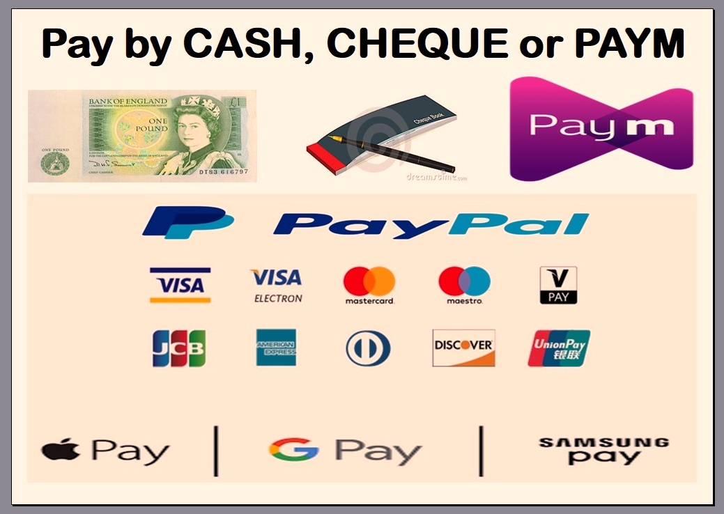 payment accepted in cash, cheque, check, paym, pay-m and Barclays Pingit. There is a 3.5% fee on all card payments